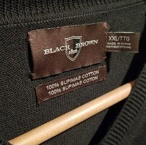 Black Brown 1826 V-neck Sweater Supima XXL